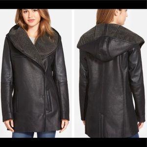 NWT Sam Edelman szL black faux leather/Sherpa coat